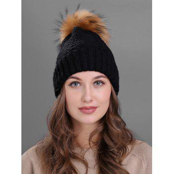 Crochet Flanging Pom Ball Knitting Hat - BLACK BLACK
