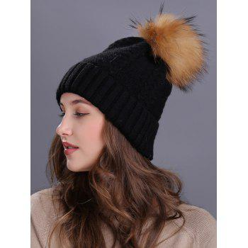 Crochet Flanging Pom Ball Knitting Hat -  BLACK