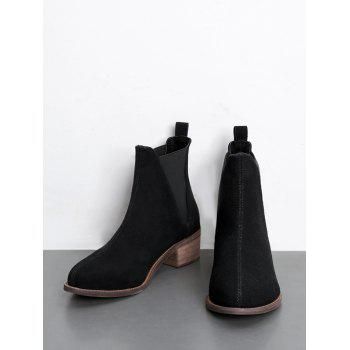 Bottines Slip-on à Talons Bas - Noir 40