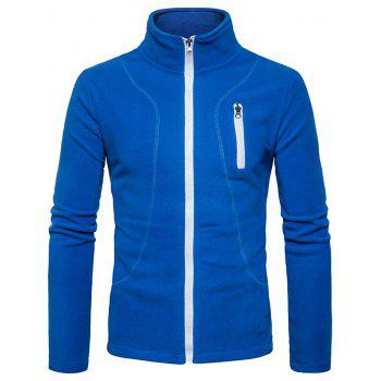 Suture Stand Collar Fleece Zip Up Jacket - BLUE L