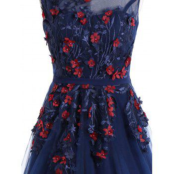 Floral Applique Mesh Overlay Sleeveless Evening Dress - PURPLISH BLUE XL