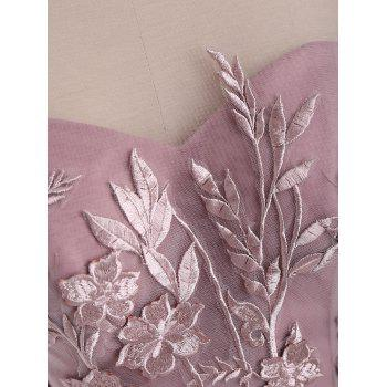 Floral Embroidered Mesh Yoke Sleeveless Evening Dress - PINK XL