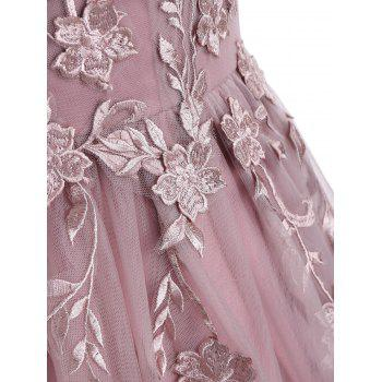 Floral Embroidered Mesh Yoke Sleeveless Evening Dress - PINK 2XL