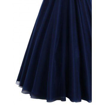 Sleeveless Floral Applique Maxi Evening Dress - PURPLISH BLUE XL