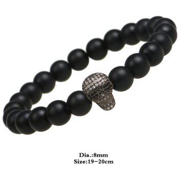 Matte Skull Shape Beads Bracelet - BLACK