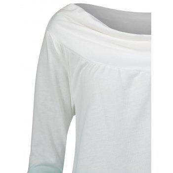 Ombre Print Plus Size High Low Sweatshirt - LAKE GREEN LAKE GREEN