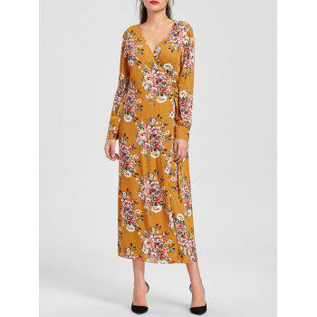 Long Sleeve Floral Print Maxi Wrap Dress - EARTHY 2XL