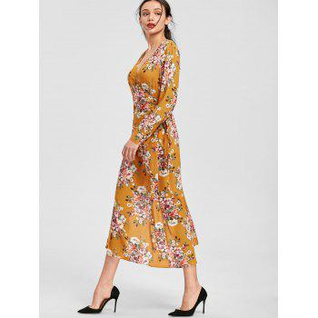 Long Sleeve Floral Print Maxi Wrap Dress - 2XL 2XL