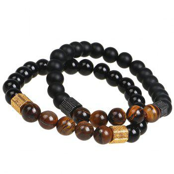 Agate Beads Prayer Bracelet -  BLACK