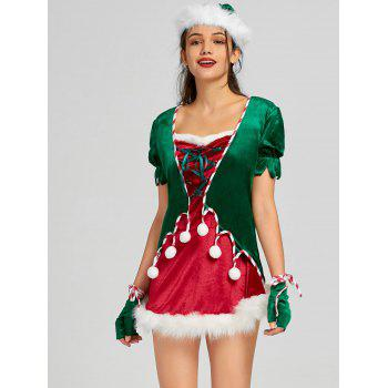 Christmas Lace Up Mini Dress with Hat and Gloves - RED M