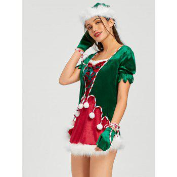 Christmas Lace Up Mini Dress with Hat and Gloves - RED 2XL