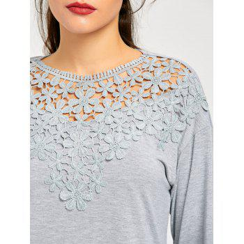Lace Trim Cutwork Marled Top - GRAY M