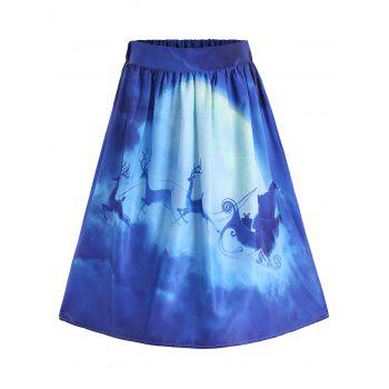 Ugly Christmas Santa Claus Elk Skirt - BLUE M