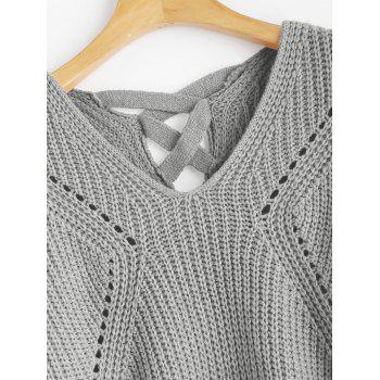 V Neck Criss Cross Sheer Sweater - Gris ONE SIZE