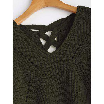 V Neck Criss Cross Sheer Sweater - Vert Armée ONE SIZE