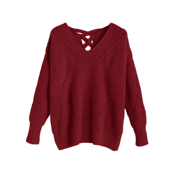 V Neck Criss Cross Sheer Sweater - Rouge vineux ONE SIZE