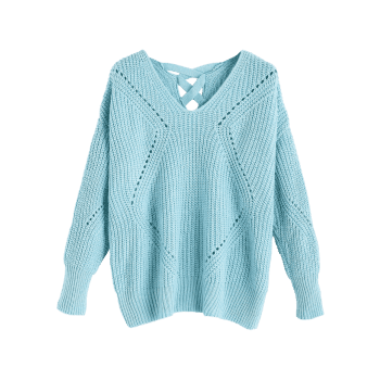 V Neck Criss Cross Sheer Sweater - Bleu clair ONE SIZE