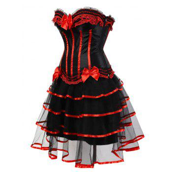 Two Piece Tier Flounce Corset Dress - RED S