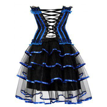 Two Piece Tier Flounce Corset Dress - BLUE 2XL