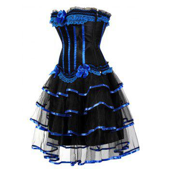 Two Piece Tier Flounce Corset Dress - BLUE XL