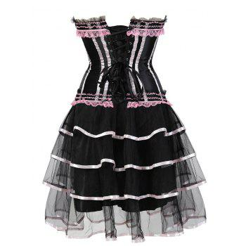 Two Piece Tier Flounce Corset Dress - PINK 2XL