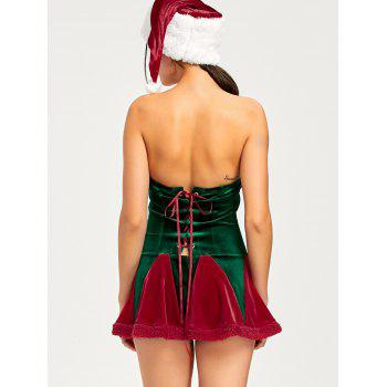 Christmas Lace Up Tube Dress with Hat - XL XL