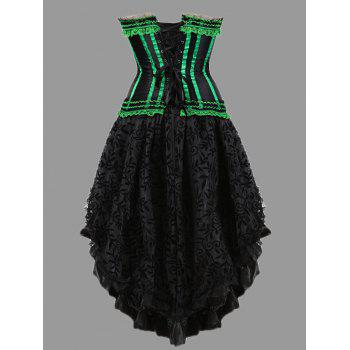 Asymmetric Plus Size Two Piece Corset Dress - GREEN GREEN