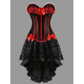 Asymmetric Plus Size Two Piece Corset Dress - RED RED