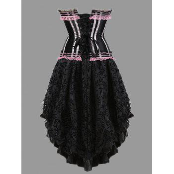 Asymmetric Plus Size Two Piece Corset Dress - PINK PINK