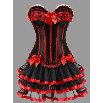 Plus Size Ruffles Two Piece Corset Dress - RED RED