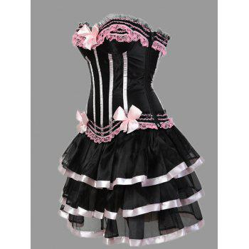 Plus Size Ruffles Two Piece Corset Dress - PINK PINK