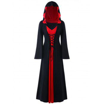 Halloween Hooded Plus Size Lace Up Maxi Dress