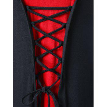 Plus Size Hooded Lace Up Maxi Dress - RED/BLACK 4XL