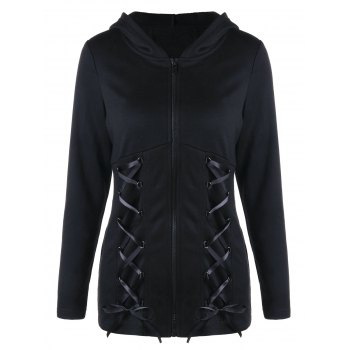 Sweat Capuche Imprimé Double Ailes à Lacets - Noir XL