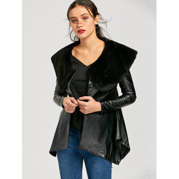 Faux Fur Collar PU Leather Asymmetric Coat - M M