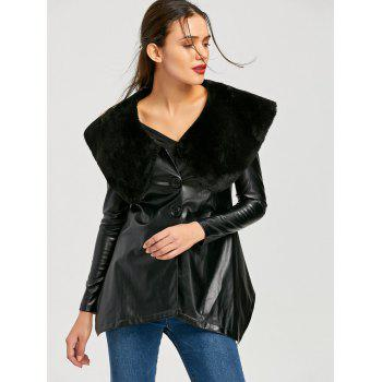 Faux Fur Collar PU Leather Asymmetric Coat - BLACK M