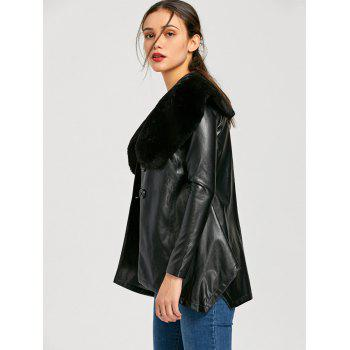 Faux Fur Collar PU Leather Asymmetric Coat - BLACK BLACK