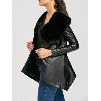 Faux Fur Collar PU Leather Asymmetric Coat - BLACK XL