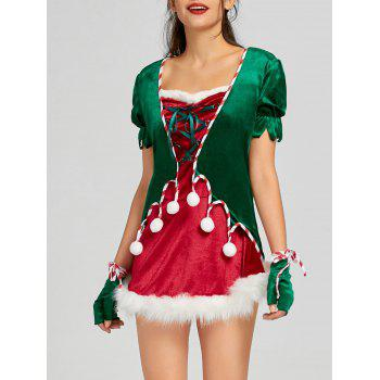 Christmas Lace Up Mini Dress with Hat and Gloves - RED RED