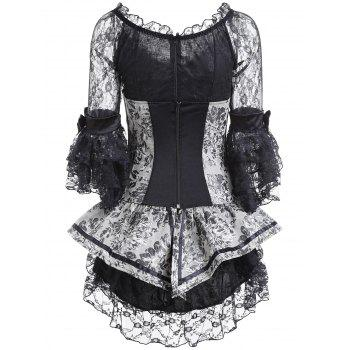 2018 paisley lace up corset with layered dress silver gray
