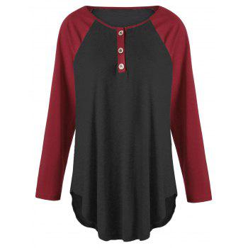 Plus Size Two Tone Raglan Sleeve T-shirt with Buttons - BLACK&RED BLACK/RED