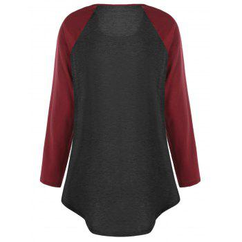 Plus Size Two Tone Raglan Sleeve T-shirt with Buttons - BLACK/RED 4XL