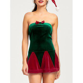 Christmas Lace Up Tube Dress with Hat - RED RED