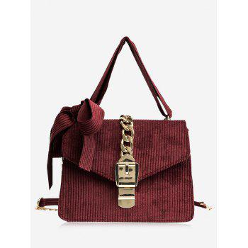 Bow Chain Buckle Strap Crossbody Bag - RED RED