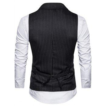 Belt Double Breasted Vertical Stripe Waistcoat - BLACK 2XL