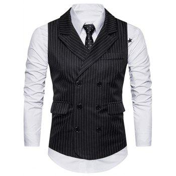 Belt Double Breasted Vertical Stripe Waistcoat