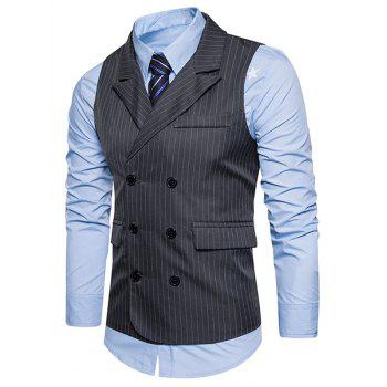 Belt Double Breasted Vertical Stripe Waistcoat - DEEP GRAY DEEP GRAY