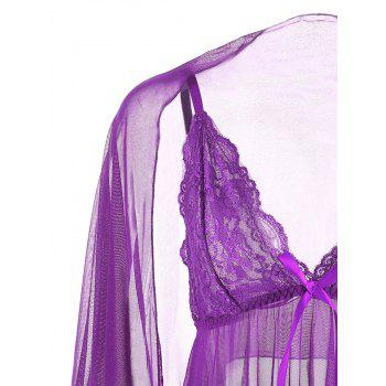 Mesh See Through Slide Slip Babydoll - Pourpre L