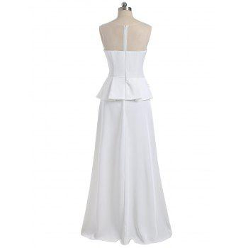 Mesh Panel Peplum Maxi Evening Dress - WHITE WHITE