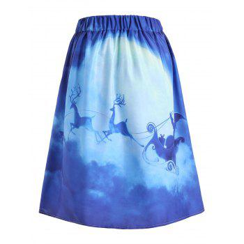 Ugly Christmas Santa Claus Elk Skirt - BLUE BLUE